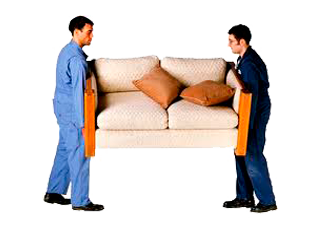Two men moving a couch