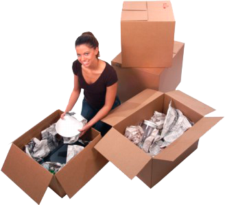A woman packing boxes
